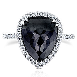 Rose-cut Black Diamond Pear Shaped Halo Ring 5 5/8 CTW in 14k White Gold - 6.5