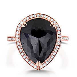 Pear Shape Black and White Diamond Halo Ring 8 1/2 CTW in 14k Rose Gold - 7.5