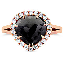Rose-cut Black Diamond Halo Style Engagement Ring 2 3/4 CTW in 14k Rose Gold