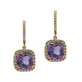 18K Rose Gold 4.94ct Amethyst Diamond Drop Earrings