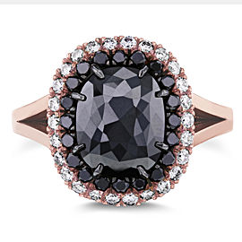 Cushion Black and White Diamond Double Halo Ring 3 3/4 CTW in 14k Rose Gold - 8.0