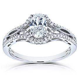 Kobelli Antique Oval Diamond Braided Engagement Ring 4/5 CTW in 14k White Gold