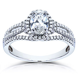 Antique Oval Diamond Braided Engagement Ring 1 CTW in 14k White Gold - 6.0