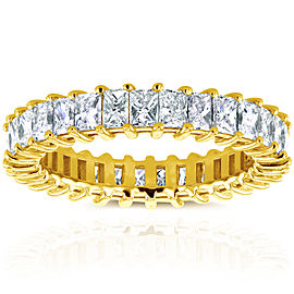 Princess Baguette Diamond Eternity Band 3 7/8 CTW in 14K Yellow Gold