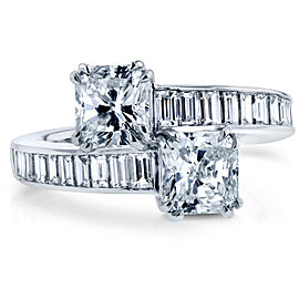 Two Stone Radiant and Baguette Bypass Diamond Ring 3 CTW in 18k White Gold (Certified) - 7.5