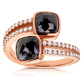 Black and White Diamond Wrap Over Two Stone Ring 2 4/5 CTW in 18K Rose Gold