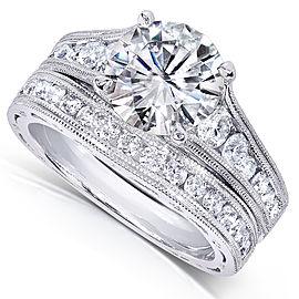 Diamond Bridal Ring Set 2 2/5 CTW in 14k White Gold - 4.0
