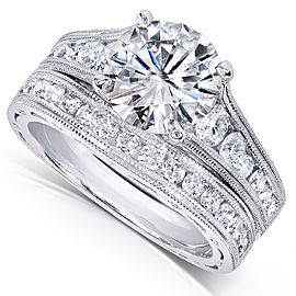 Diamond Bridal Ring Set 2 2/5 CTW in 14k White Gold - 5.5