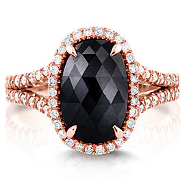 Black and White Diamond Split Shank Oval Halo Ring 3 3/5 CTW in 14k Rose Gold