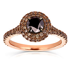 18k Rose Gold Black and Champagne Diamond Double Halo Ring 1 1/2 CTW - 7.0