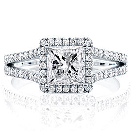 Princess Diamond Halo Split Shank Ring 2 1/4 CTW in 14k White Gold (Certified) - 7.5
