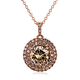 18k Rose Gold Champagne Double Halo Diamond Pendant 1 7/8 CTW with 14k Rose Gold Chain