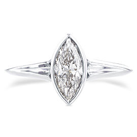 Solitaire Marquise Diamond Bezel Ring in 1 1/10 CTW 14k White Gold - 6.5