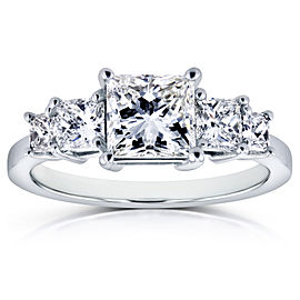 Diamond Five-Stone Engagement Ring 2 CTW in 14K White Gold (Certified) - 7.0