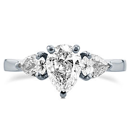 Diamond Pear Three-Stone Engagement Ring 1 3/5 CTW in Platinum (Certified)