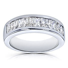Princess Baguette Diamond Wedding Band 1 2/5 CTW 14k White Gold - 5.5