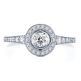Round Bezel Old Mine Cut Diamond Halo Ring 4/5 Carat TDW in 18K White Gold