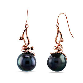 Grey Peacock Tahitian Pearl Wispy Earrings in 14k Rose Gold