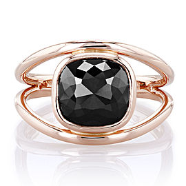3 Carat Solitaire Rose-cut Cushion Black Diamond Split Shank Ring in 18k Rose Gold