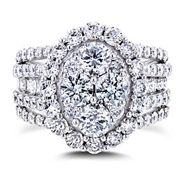 Oval Cluster Diamond Engagement Ring 3 CTW 14k White Gold