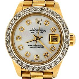 Ladies Rolex 18K Yellow Gold Datejust President White MOP Diamond 6917