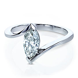 14k White Gold 1ct Marquise Diamond Chevron Solitaire Engagement Ring -