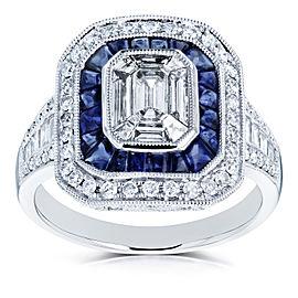 Kobelli Invisible Set Emerald Diamond Sapphire Cabochon Double Halo Octagonal Engagement Ring Size 7