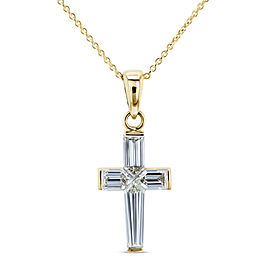 Baguette Diamond Cross Necklace 18k Pendant 14k Chain (1 3/4 CTW)