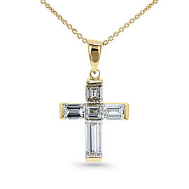 Baguette Diamond Cross Necklace (14K Yellow Gold)