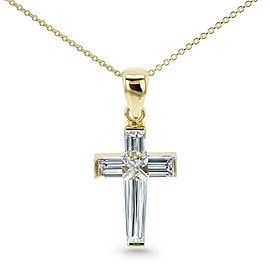 Bullet Baguette Diamond Cross Necklace 18k Pendant 14k Chain Yellow Gold (1 3/4 CTW, GH/VS)
