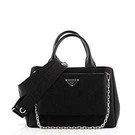 Prada Zip Pocket Chain Tote Bag Tessuto with Leather Small