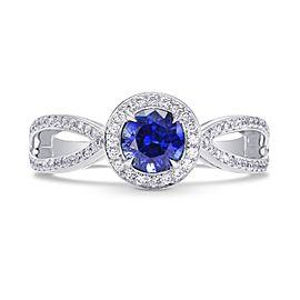 Leibish 18K White Gold Round Blue Sapphire & Diamond Engagement Ring Size 5.75