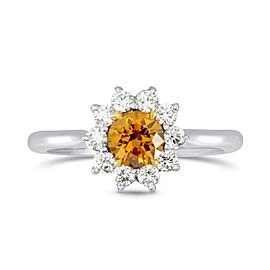 Leibish 18K White Gold Fancy Deep Brownish Yellowish Orange Round Brilliant Diamond Ring Size 6
