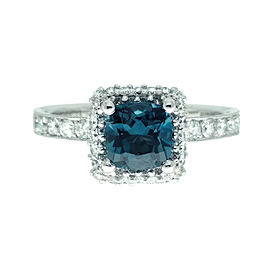 Tacori 18K White Gold Topaz .65ctw Diamond Ring Size 6.5