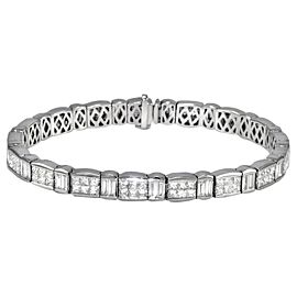 18K White Gold Tennis Bracelet With Princess & Baguette Diamonds