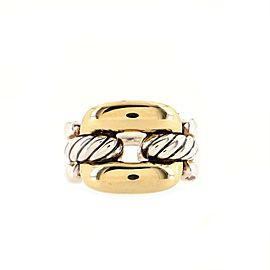 David Yurman Wellesley Chain Link Ring Sterling Silver and 18K Yellow Gold Large