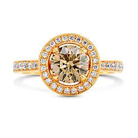 Leibish 14K Rose Gold Fancy Yellowish Brown Diamond Halo Engagement Ring Size 5.75