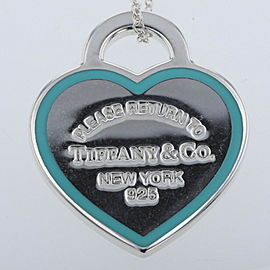 TIFFANY & Co. enamel/silver Return to Heart tag Necklace
