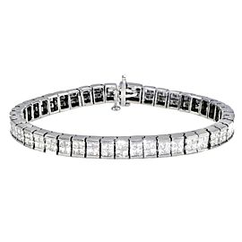 18K White Gold Princess Cut Diamond Tennis Bracelet