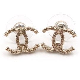 Chanel Gold CC Mini Ball Texture Piercing Earrings
