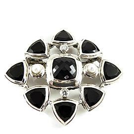 David Yurman Sterling Silver Black Onyx Pearl Diamond Albion Renaissance Pin-Pendant