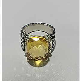 David Yurman Sterling Silver & Gold Wheaton Ring with Citrine and Diamonds