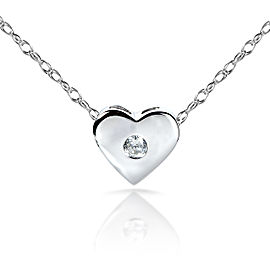 "Diamond Bezel Heart Pendant in Platinum (18"" 14k Gold Chain)"