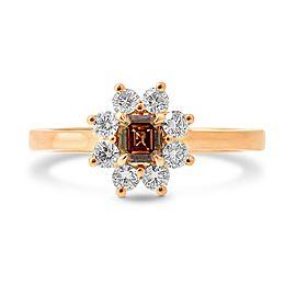 Leibish 18K Rose Gold Fancy Dark Orange Brown Emerald Cut Diamond Dress Ring Size 5.5