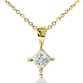 Diamond Solitaire 1/3 Carat Pendant in 14K Gold - yellow-gold