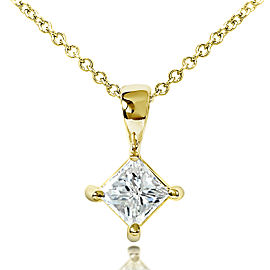 Diamond Solitaire 1/2 Carat Pendant in 14K Gold - yellow-gold