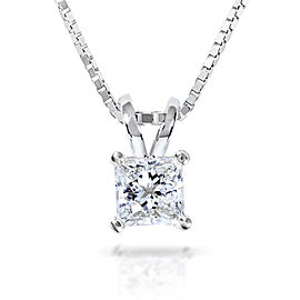 Diamond Solitaire Pendant 1/2 carat in 14K Gold (G-H, VS1-VS2) - white-gold