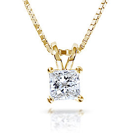 Diamond Solitaire Pendant 1/2 carat in 14K Gold (G-H, VS1-VS2) - yellow-gold