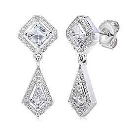 Diamond Drop Earrings 1 5/8 Carat (ctw) in 18k White Gold