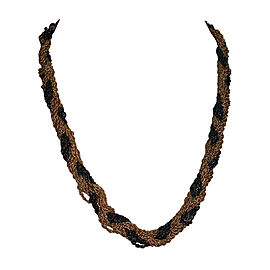 Yves Saint Laurent Black & Gold Woven Rope Necklace